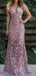 Dusty Rose Lace Spaghetti Strap Sheath Long Prom Dresses.PD00242