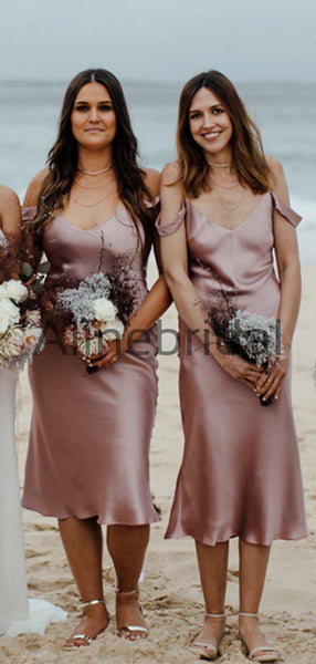 Dusty Rose Spaghetti Strap Off Shoulder Knee Length Bridesmaid Dresses, AB4102