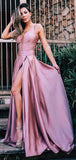 Dusty Rose Spaghetti Strap Slit A-line Simple Cheap Prom Dresses.PD00254