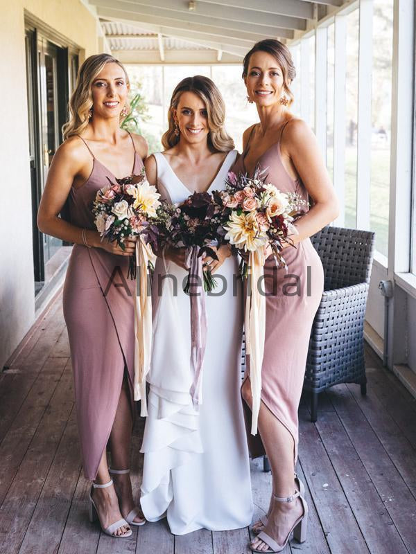 Dusty Rose Spaghetti Strap V-neck High Low Ankle Length Bridesmaid Dresses, AB4103