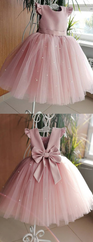 Dusty Rose Tulle Beading Cap Sleeve With Bowknot Flower Girl Dresses, FGS141