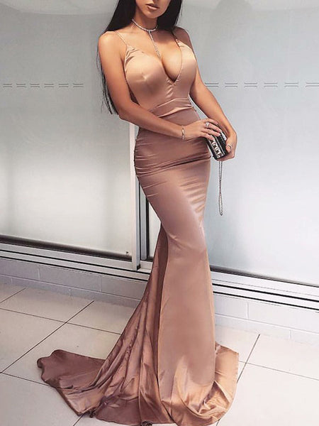 Dutsy Pink Spaghetti Strap V-neck Mermaid Evening Party Prom Dresses,PD00339