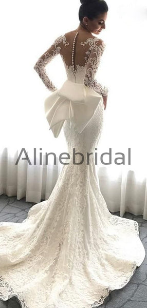 Elegant Long Sleeves Lace Mermaid Long Wedding Dresses WD0573