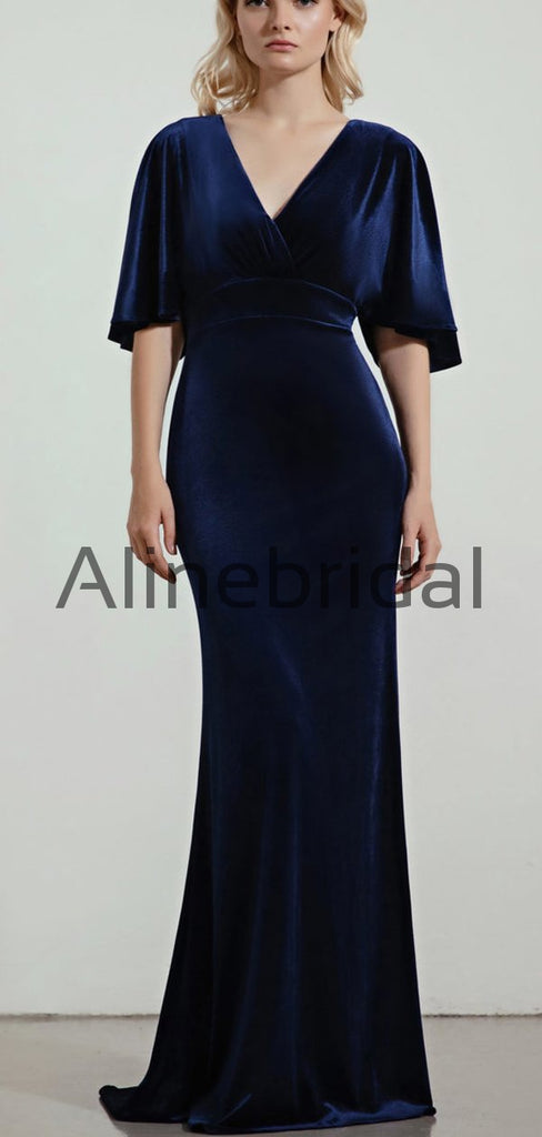 Elegant Mermaid Blue Velvet Half Sleeves Long Bridesmaid Dresses AB4241