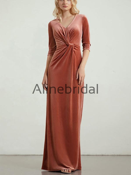 Elegant Mermaid V-Neck Velvet Long Sleeves Bridesmaid Dresses AB4242