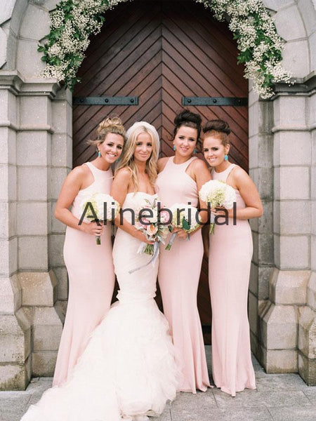 Elegant Pink Mermaid Soft Popular Formal Bridesmaid Dresses AB4229