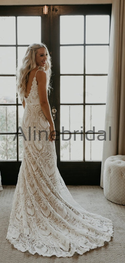 Elegant Rustic Full Lace Garden Fashion Long Wedding Dresses WD0574