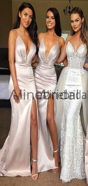 Elegant Sexy Spaghetti Strap Shinning Split Mermaid Long Bridesmaid Dresses , AB4000