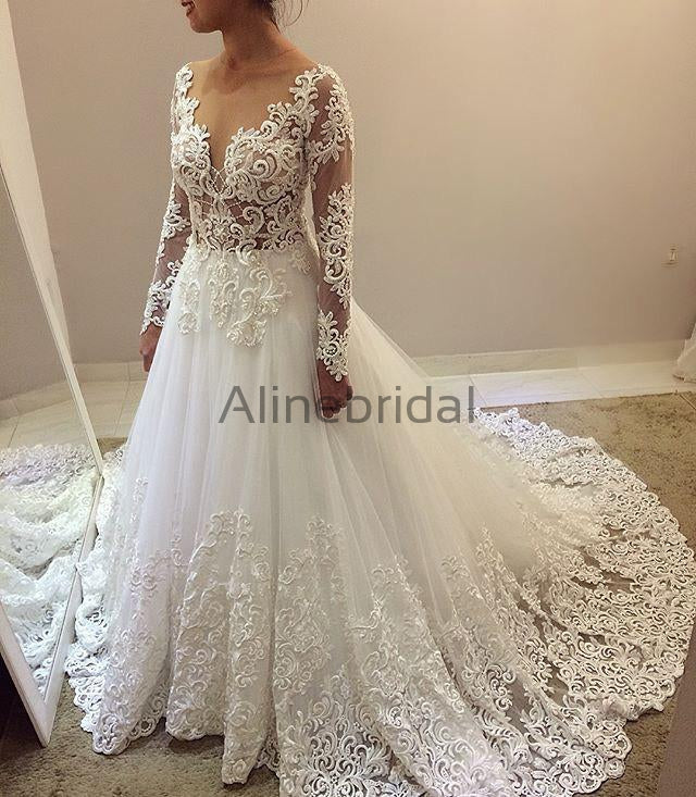 Elegant Beading Lace Long Sleeve Ball Gown Wedding Dresses, AB1505