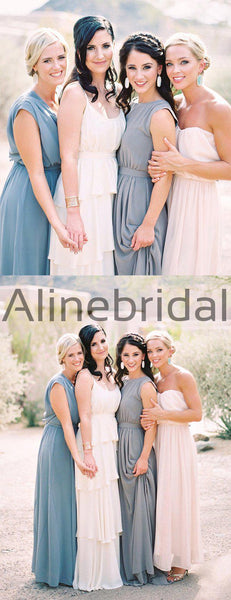 Elegant Chiffon Sleeveless Round Neckline Simple Long Bridesmaid Dresses, AB4134