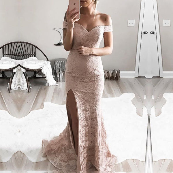 Elegant Off Shoulder Split Nude Lace Mermaid Long Prom Gown Dresses,PD00055