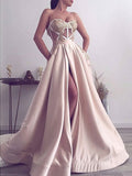 Elegant Satin Applique Illusion Strapless Prom Dresses,PD00177