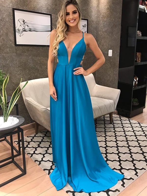 Elegant Simple Blue Elastic Satin Spaghetti Strap A-line Prom Dresses,PD00298