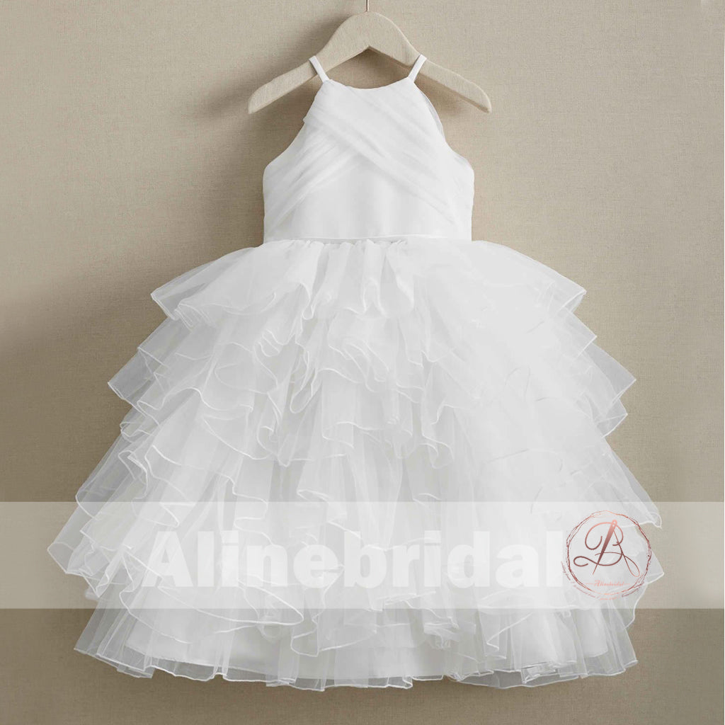 Elegant White Tulle Sleeveless Ruffles Flower Girl Dresses, FGS093