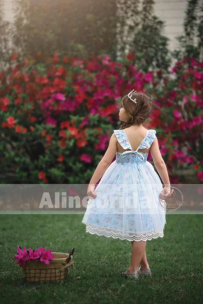 Fashion Blue Floral Ivory Lace Country Wedding Flower Girl Dresses , FGS064