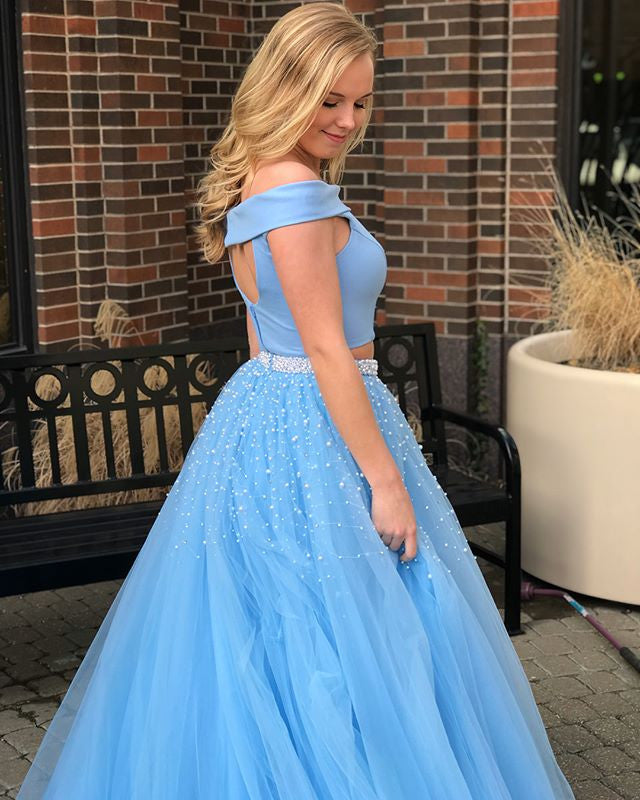 Fashion  Blue Off Shoulder Two Piece Beaded Prom Gown Dresses,PD00039