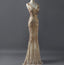 Fashion Charming Sparkly Golden Sequins Mermaid V-neck Formal Evening Party  Prom Dresses,PD00026