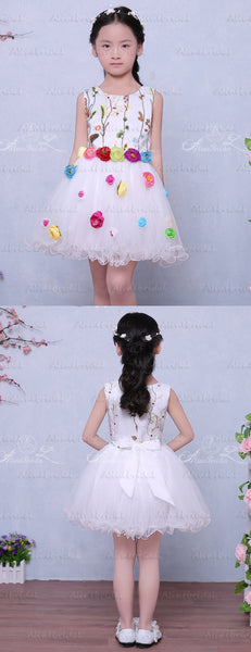 Fashion Embroidery Colorful Handmade Flower Belt Lovely Flower Girl Dresses, FGS124