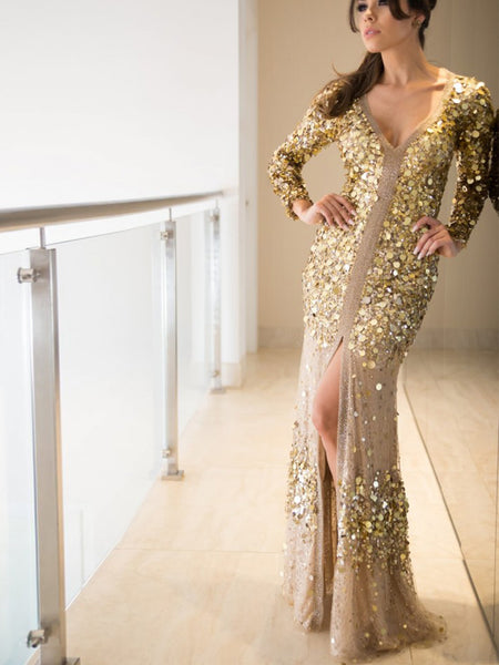 Fashion Gold Sequin Long Sleeve See Through Back Long Prom Dresses ,PD00299