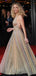 Fashion Gold Sequin Sparkly Backless A-line Prom Dresses,PD00328