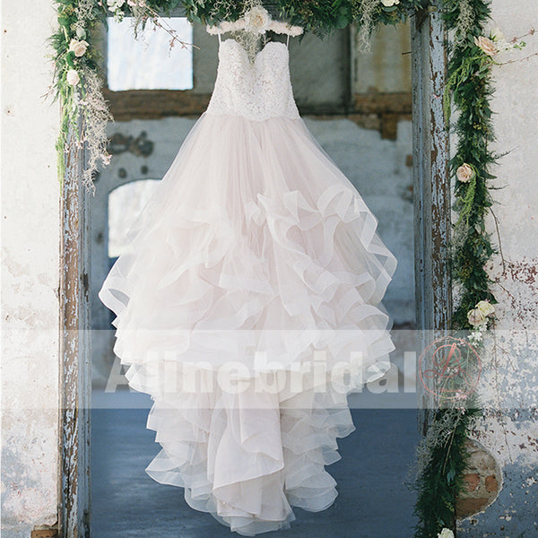 Fashion Lace Top Ruffles Ball Gown Sweetheart Straps