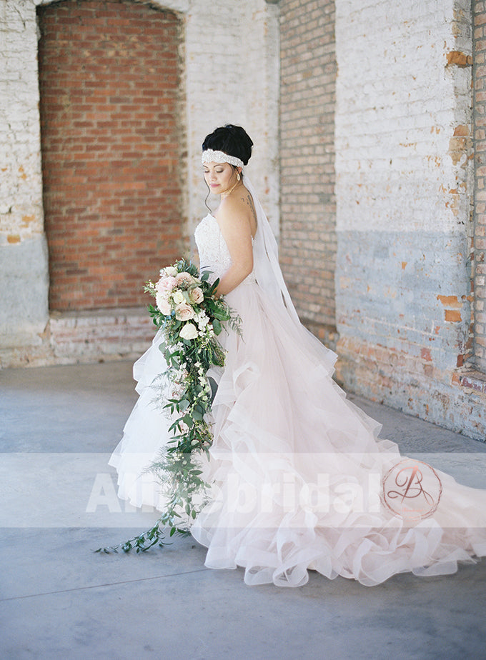 Fashion Lace Top Ruffles Ball Gown Sweetheart Straps Wedding Dresses , AB1154