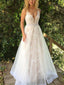 Fashion Lace Tulle A-line Beading Belt Sleeveless Wedding Dresses, AB1521