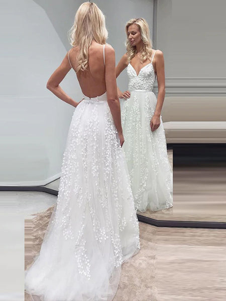 Fashion Lace Tulle Spaghetti Strap Backless Beach Wedding Dresses, AB1549
