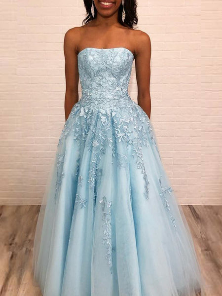 Fashion Pale Blue Tulle Lace Applique Strapless Prom Dresses,PD00367