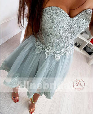 Fashion Tiffany Blue Lace Sweetheart Strapless Lace Up Back Homecoming Dresses, HD0007