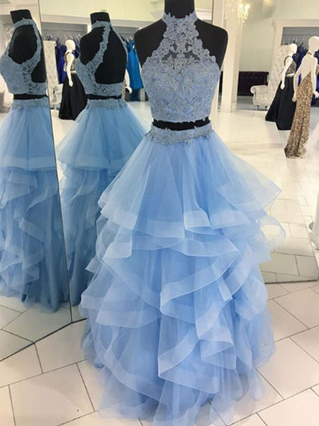 7243046b7b47 Fashion Two Piece Halter Lace High Neck Ruffles Skirt Prom Dresses For  Teens ,PD00111