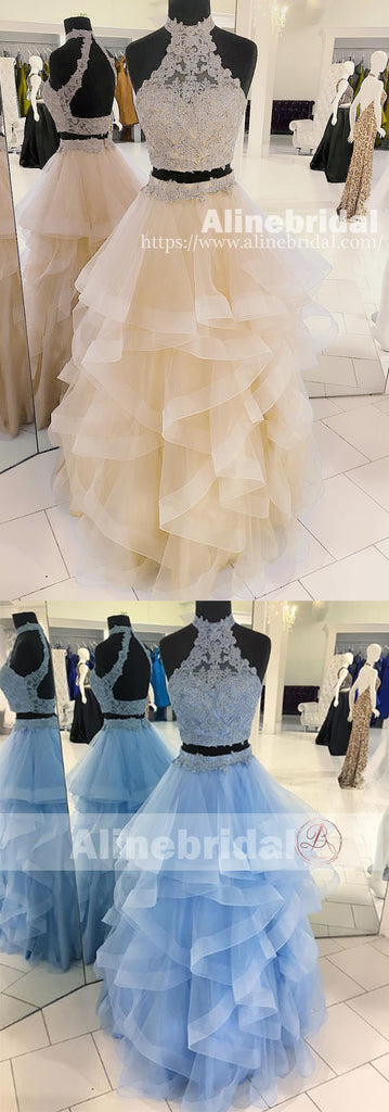 Fashion Two Piece Halter Lace High Neck Ruffles Skirt Prom Dresses For Teens ,PD00111