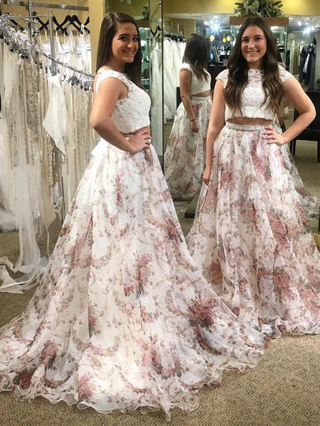 Fashion Two Piece  Lace Floral Prints Chiffon Cap Sleeve Prom Gown Dresses,PD0086