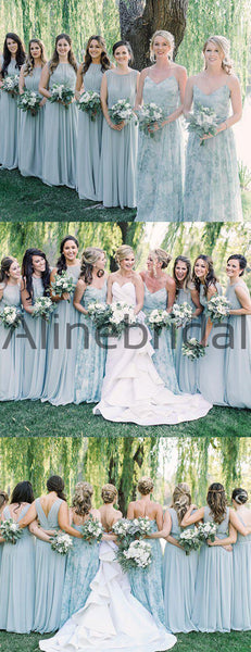 Floral Prints Chiffon Mismatched A-line Long Bridesmaid Dresses, AB4119