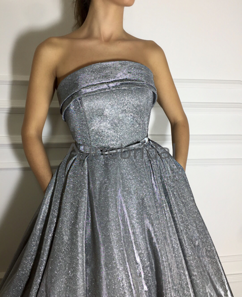 Formal Strapless Gay Sequin Long Evening Dresses For Prom Party PD1005