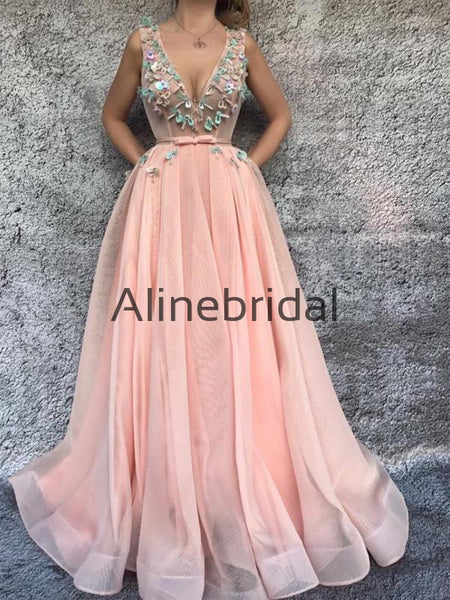 Formal V-Neck Sleeveless Fashion Evening Dresses For Prom Party PD1006