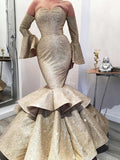 Gold Satin Strapless Long Sleeve Mermaid Formal Prom Dresses.PD00227