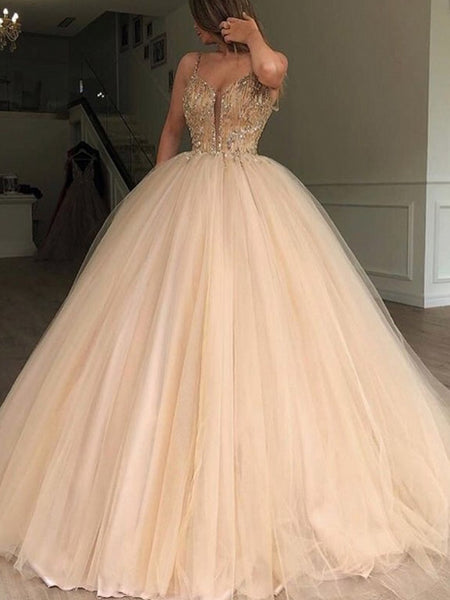 6404c6301b126 Gold Beading Tulle Ball Gown Princess Prom Dresses,PD00179 – AlineBridal