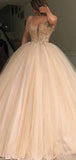 Gold Beading Tulle Ball Gown Princess Prom Dresses,PD00179