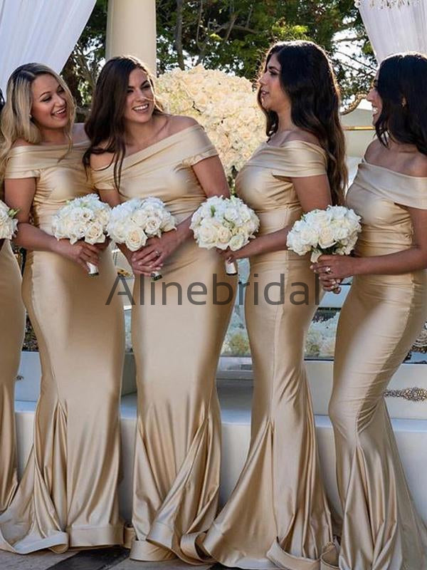 Gold  Off Shoulder Mermaid Fashion Bridesmaid Dresses, AB4065