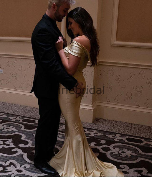 Gold Jersey Off Shoulder Mermaid Pleating Elegant Bridesmaid Dresses, AB4045