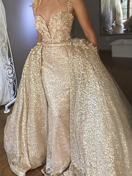 50b14f18 FEATURED PRODUCTS. Your product's name. $200.00. Gold Sequin Detachable  Over-skirt Spaghetti Strap Bling Prom Dresses ...