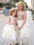 Gold Sequin Ivory Ruffles Tulle Cute Flower Girl Dresses, FGS112