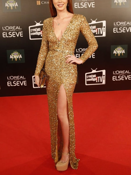 Gold Sequin Long Sleeve V-neck Silt Sheath Prom Dresses,PD00344