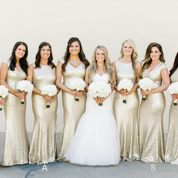 Gold Sequin Mismatched Cap Sleeve Cheap Long Bridesmaid Dresses, WG01