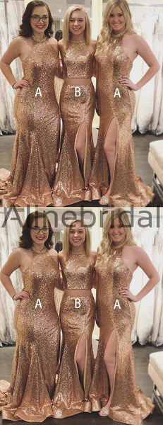 Gold Sequin Mismatched Halter Mermaid Bridesmaid Dresses, AB4067