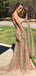 Gold Sequined Lace Off Shoulder Long Sleeve Sheath Prom Dresses,PD00352
