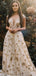 Gold Star Sequin Lace Cap Sleeve A-line Prom Dresses,PD00290