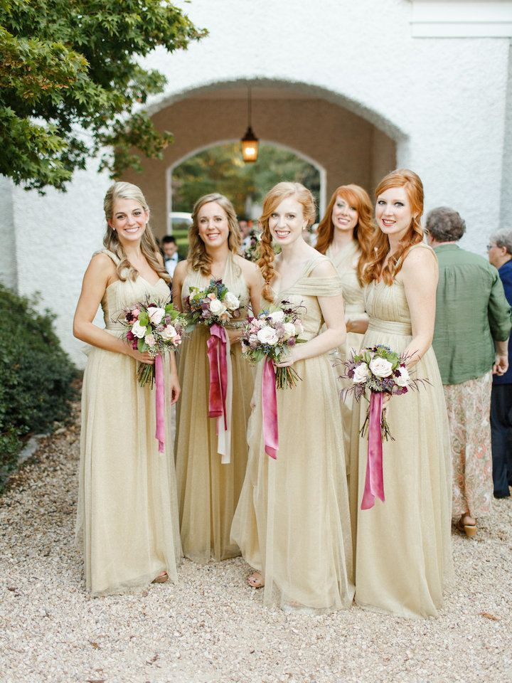 Gold Tulle Convertible Sleeveless Sweetheart Elegant  Long A-line Bridesmaid Dresses, WG200