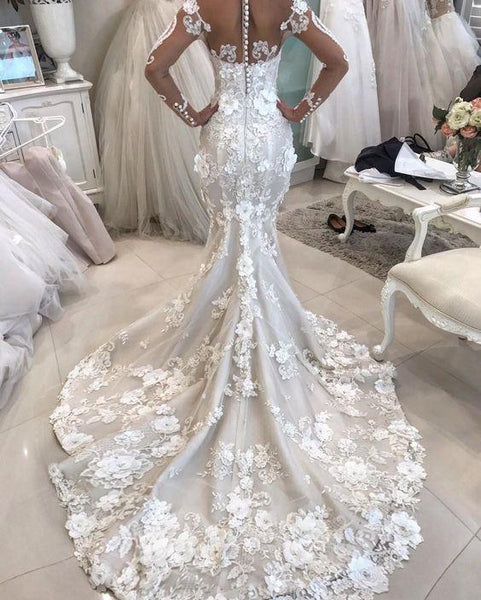 Gorgeous Appliques Mermaid Long Sleeve Wedding Dresses, AB1500